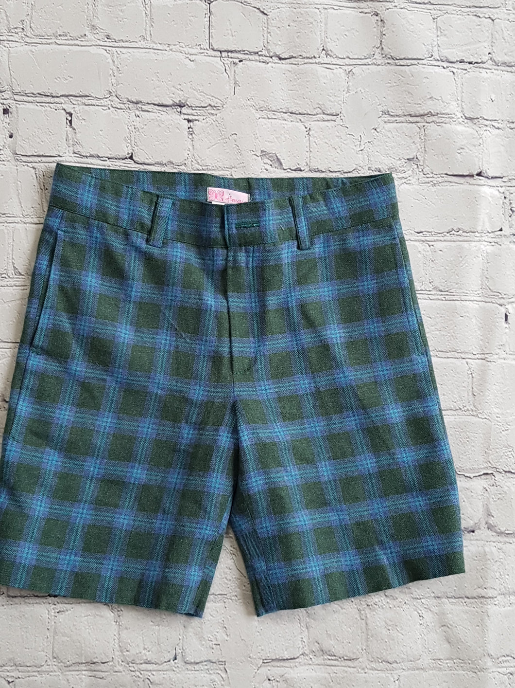 AMAIA outlet boys girls tartan blue green short 6yo - FAMILY AFFAIRE