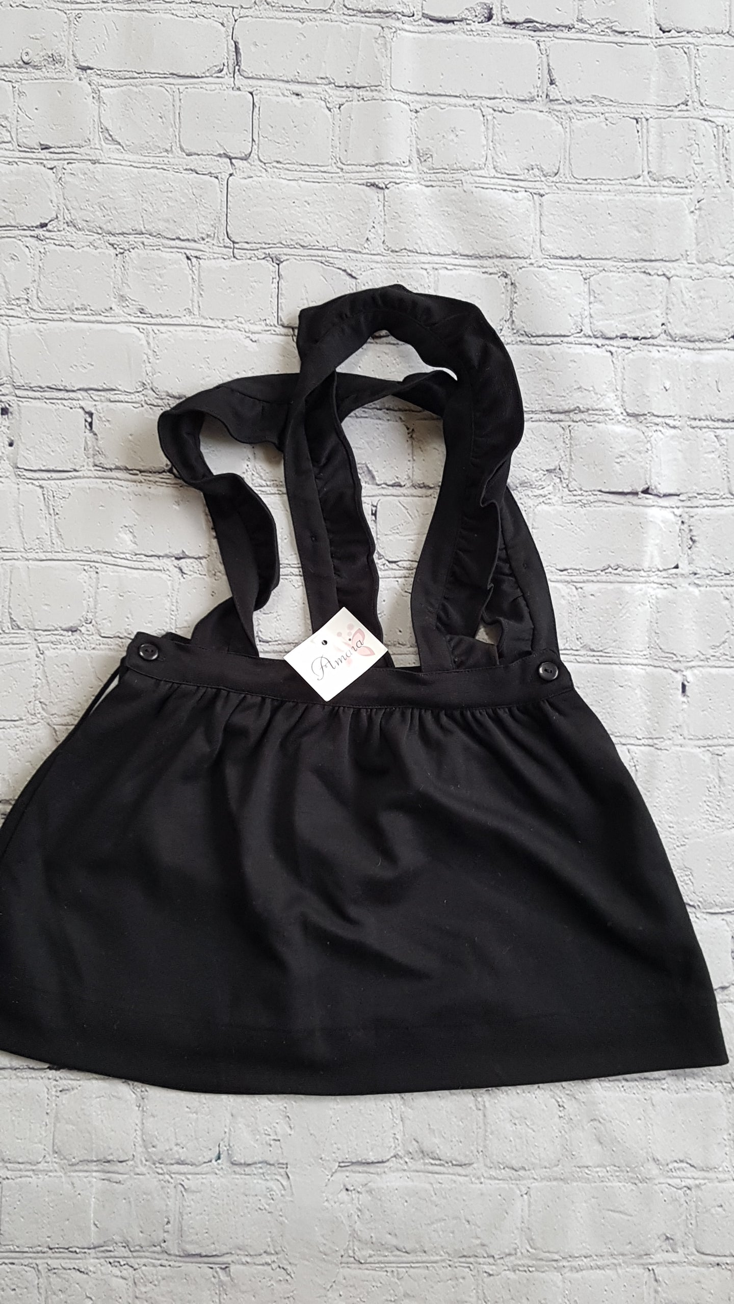 AMAIA outlet black pinafore dress girl - FAMILY AFFAIRE