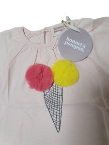 BONNET A POMPOM OUTLET girl tee shirt 6m