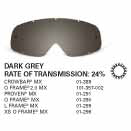 SAMPLE PICTURE - Oakley MX Dark Grey traditional lens - for Crowbar (OA-01-389), O Frame 2.0 (OA-101-357-002), Proven (OA-01-291), O Frame MX (OA-01-390), L Frame (OA-01-299) and XS O Frame (OA-01-296) goggles - have a 24% rate of transmission