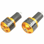 RJ-TARBE006GO - Tarmac carbon print 25mm long bar ends in gold (also available in silver, black, red and blue)