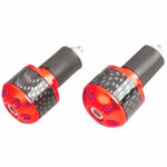 RJ-TARBE006RD - Tarmac carbon print 25mm long bar ends in red (also available in silver, black, gold and blue)