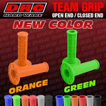 The DRC Team Grips are standard MX grips (with closed ends) and available in black, grey, red, blue, orange and green