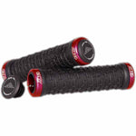 Azonic Razor Wire grips in red colourway - comes as a grip set with collars and plugs