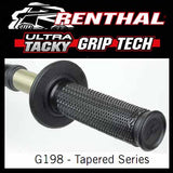 RE-G198 - Renthal Ultra Tacky Dual Compound Tapered Grips - 1/2 Waffle tapered grips - if the grips lose their stickiness at any point, simply wash with clean water and allow the grips to air dry to reactivate it