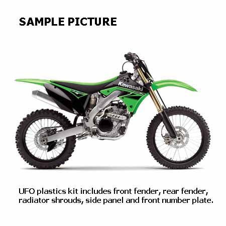 UF-KAKIT223E999 - SAMPLE PICTURE - UFO KAWASAKI KX450F 2016 PLASTICS KIT (OEM) - kit includes front fender, rear fender, radiator shrouds, side panels and front number plate