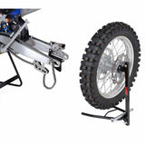 DF-D057-5201 - DRC E7520 Wheel Stand holds the wheel during your maintenance of front suspension or rear swingarm and can be used with wheels which have a shaft size of more than 16mm, hub width of up to 230mm and up to 21inch