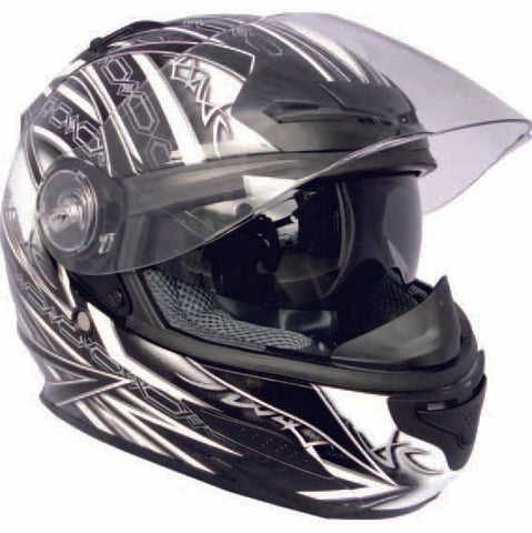 The THH TS-44 Aero Full Face Helmet is available in Gloss Black as well as Black and White graphics (pictured) and has six front closeable vents, multiple rear exit vents and more