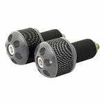 RJ-TARBE006SI - Tarmac carbon print 25mm long bar ends in silver (also available in gold, red, blue and black)