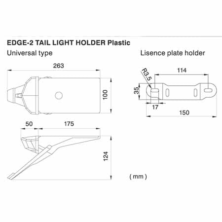 DF-D45-14-002 - Dimensions for the DRC universal plastic Edge-2 smoke tail light holder