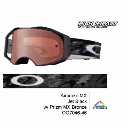 OA-OO7046-46 - Oakley Airbrake MX Jet Black goggles with Prizm MX Bronze lens