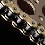Renthal R4 Road Chain uses quality materials - all R4 SRS Road chains feature high alloy steel plates and pins, solid bushings and rollers, shot peened side plates for added strength and gold side plates.