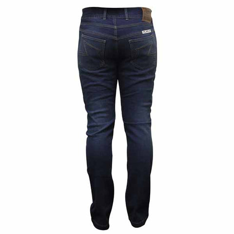 Rjays kevlar reinforced jeans are available in blue for both men and women and have pockets for optional hip and knee armour kits