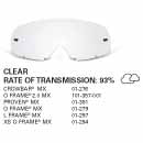 SAMPLE PICTURE - Oakley MX Clear traditional lens - for Crowbar (OA-01-276), O Frame 2.0 MX (OA-101-357-001), Proven (OA-01-391), O-Frame (OA-01-279), L-Frame (OA-01-297) and XS O-Frame (OA-01-294) - have a 93% rate of transmission