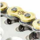Renthal R3-3 chains - Special finish: gold coloured side plates and copper coloured rollers help prevent corrosion