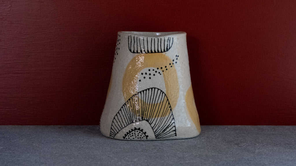Hand painted ceramic planter and vase