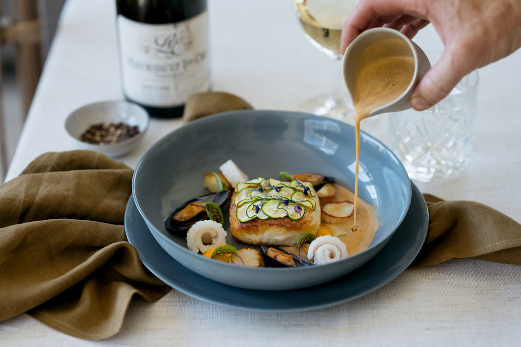 Palinopsia Ceramics with Seafood Bouillabaisse by Private Chef