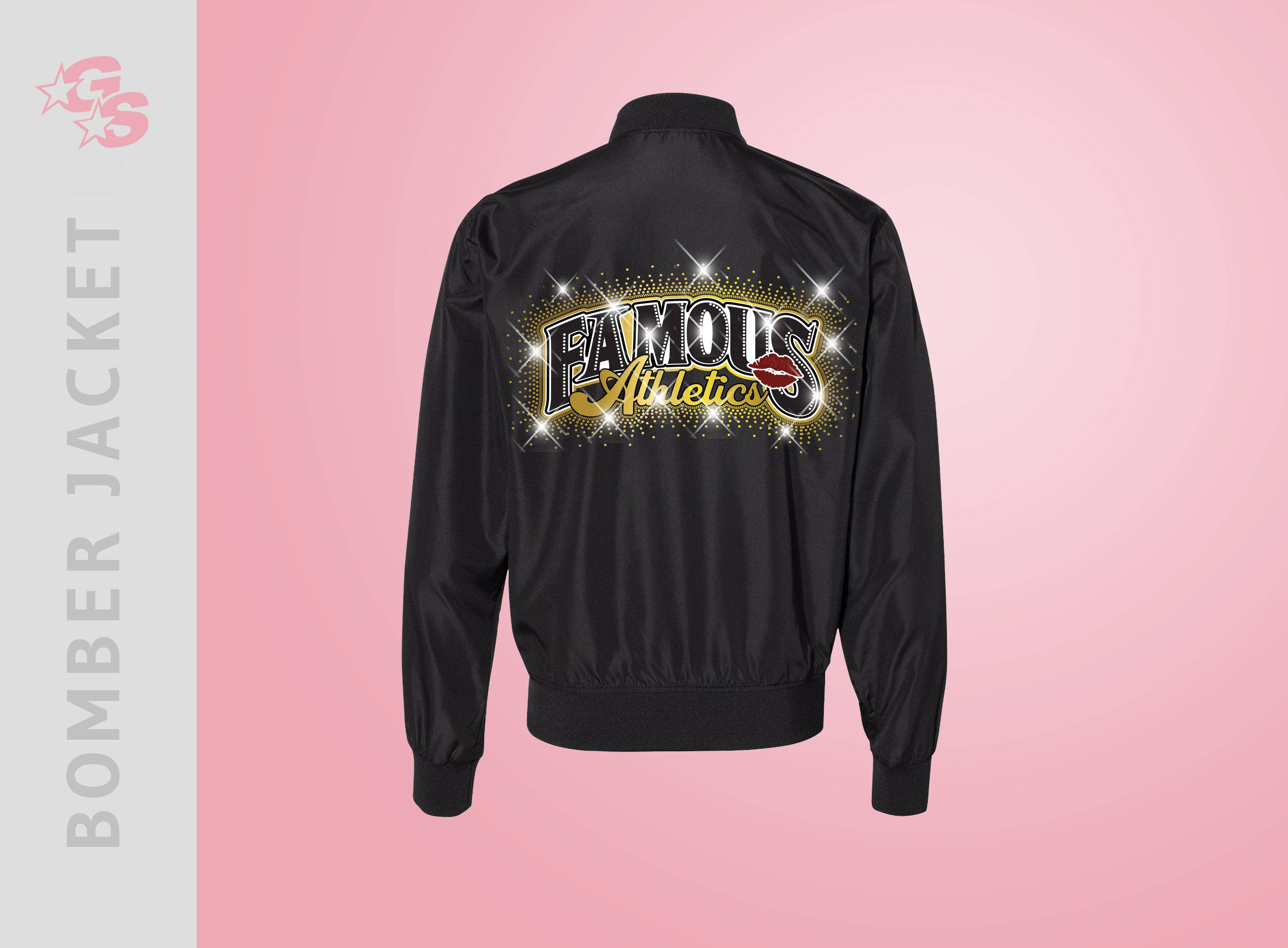 Famous Athletics Bomber Jacket with Vinyl and Bling Mix Logo - Adult Sizes Only