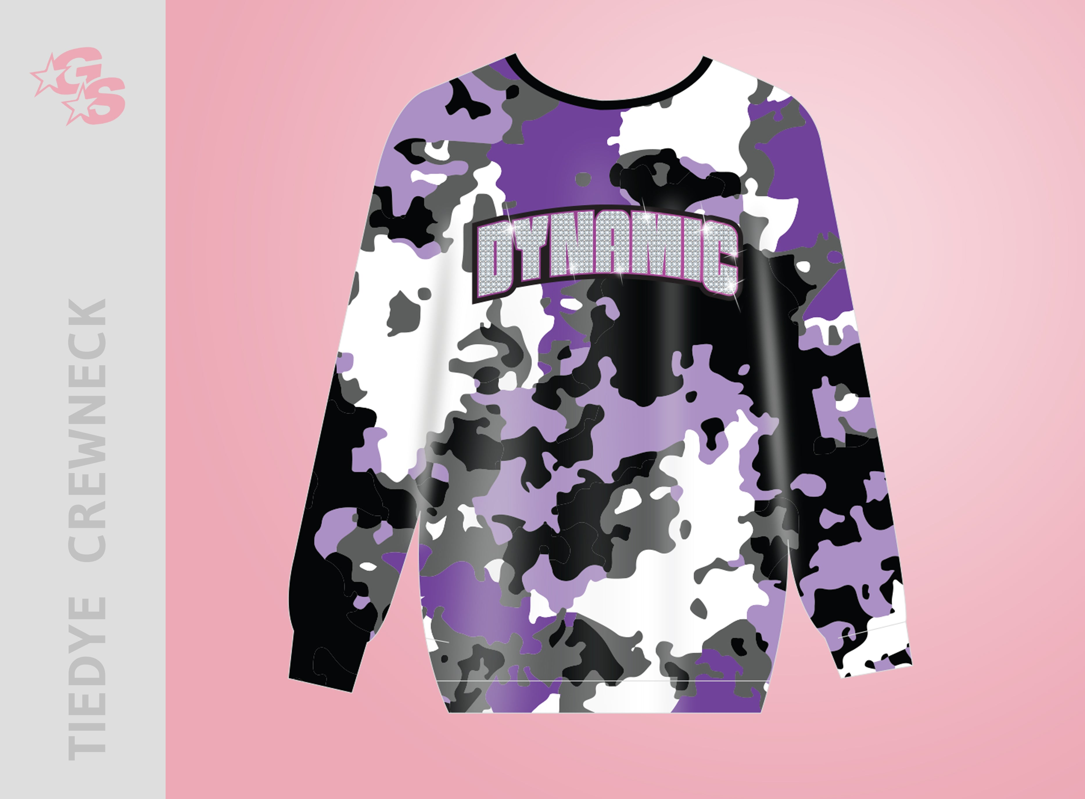 Sublimated Crewneck Tiedye sweatshirt with dyesub and bling combo logo - Dynamic Competitive Cheer