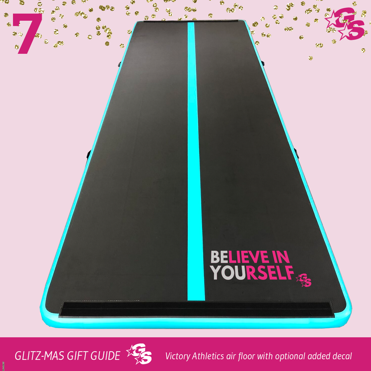 Inflatable Tumble Mat by Victory Athletics with GlitterStarz Decal -- (10 Days of GlitzMas DAY 7)