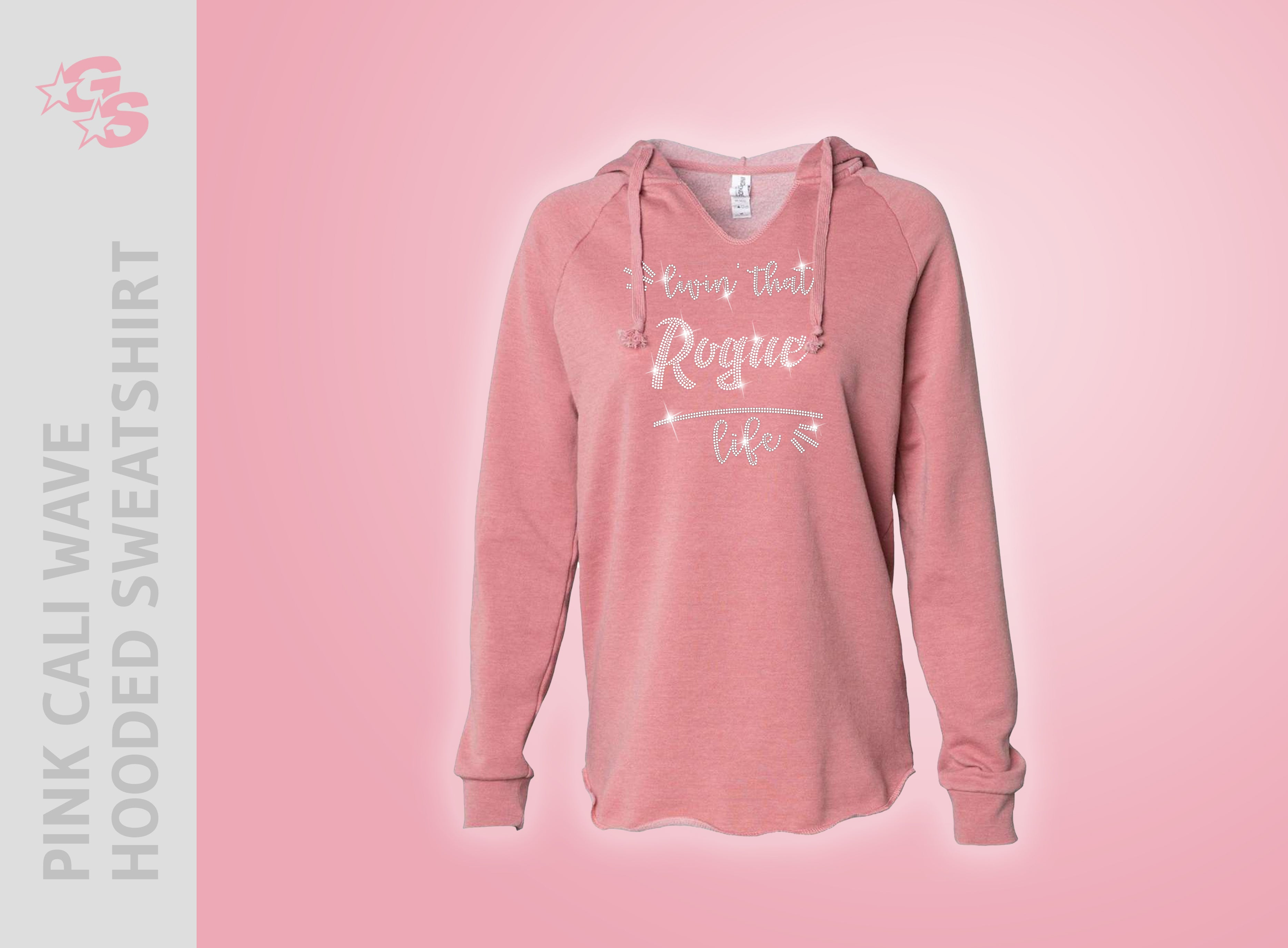"Rogue Athletics Bay Area Pink Cali Wave Hooded Sweatshirt - ""Livin' That"" Bling Logo"