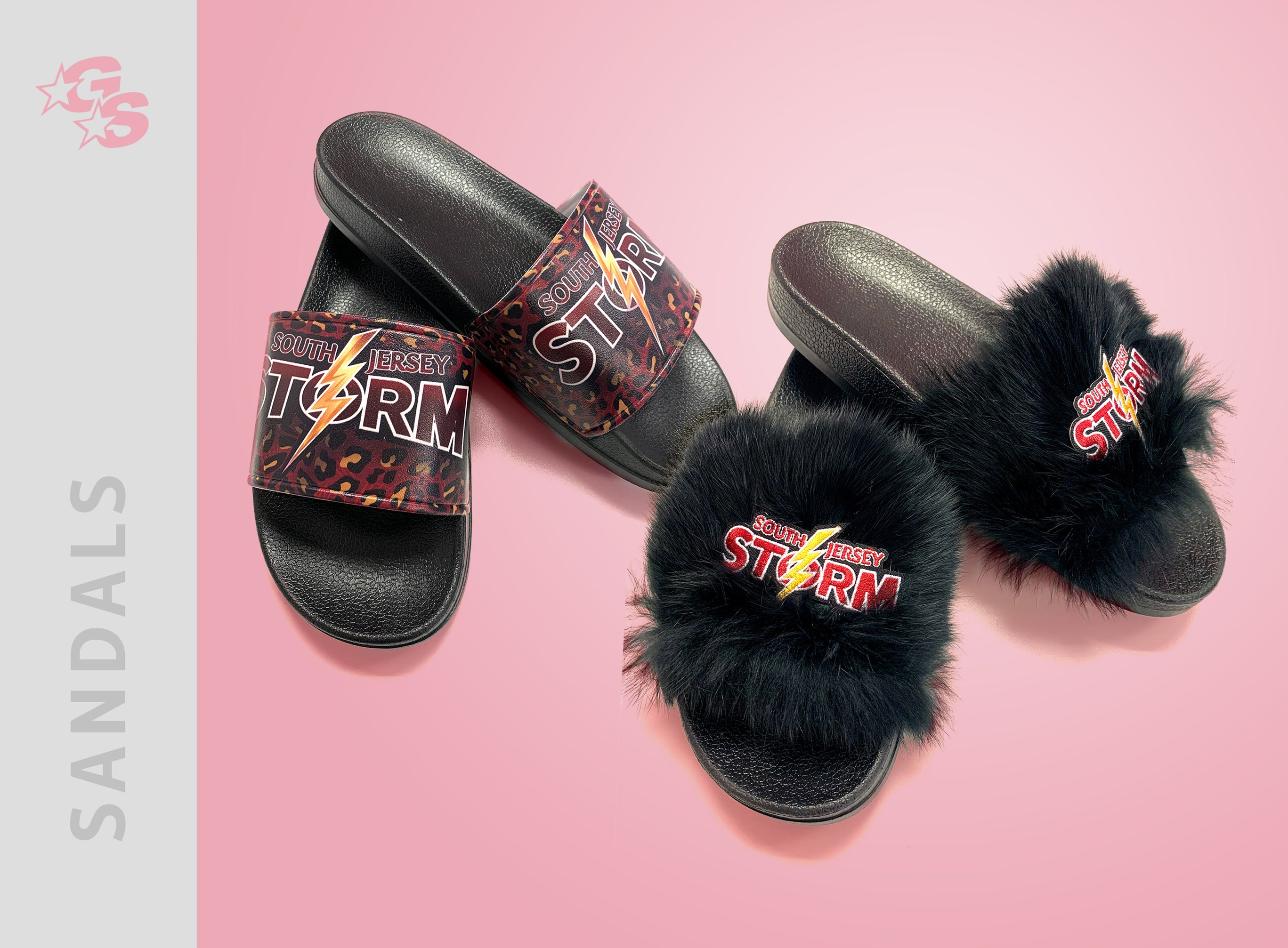 Fuzzy Slide Sandals with logo - SJS - Special Loyalty Bundle Pricing