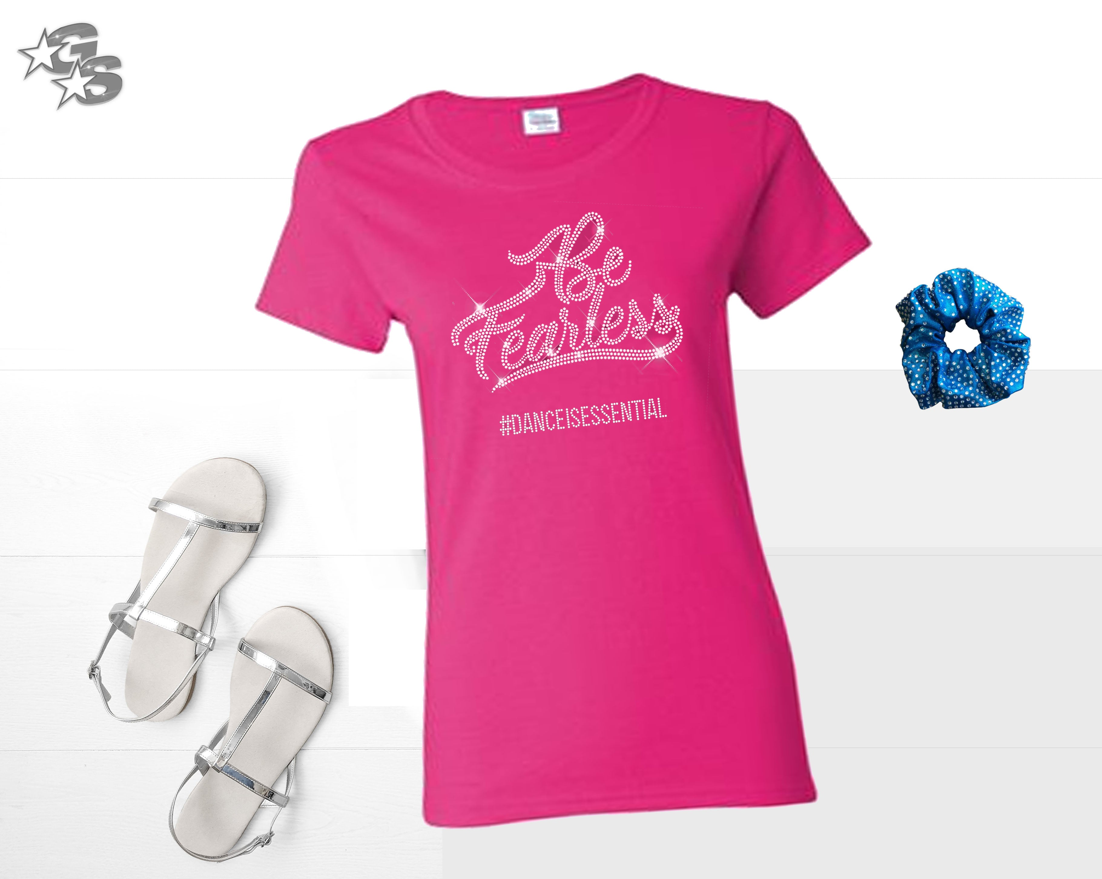 Be Fearless Fitted Tee - Pink (Bling) - Dance or Cheer or Gymnastics