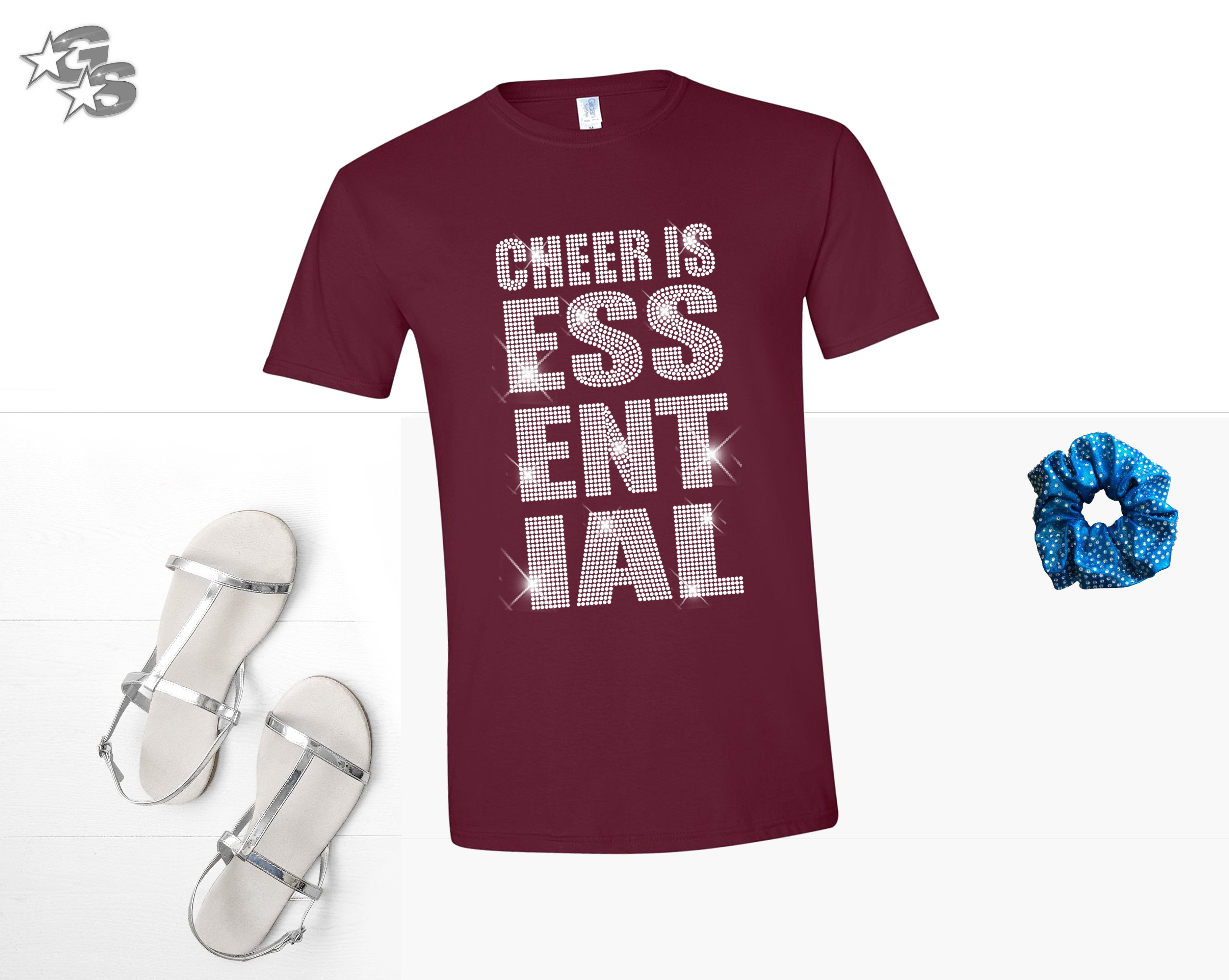 Cheer is Essential - Maroon Shirt - Cheer FX (Bling) - No Hashtag