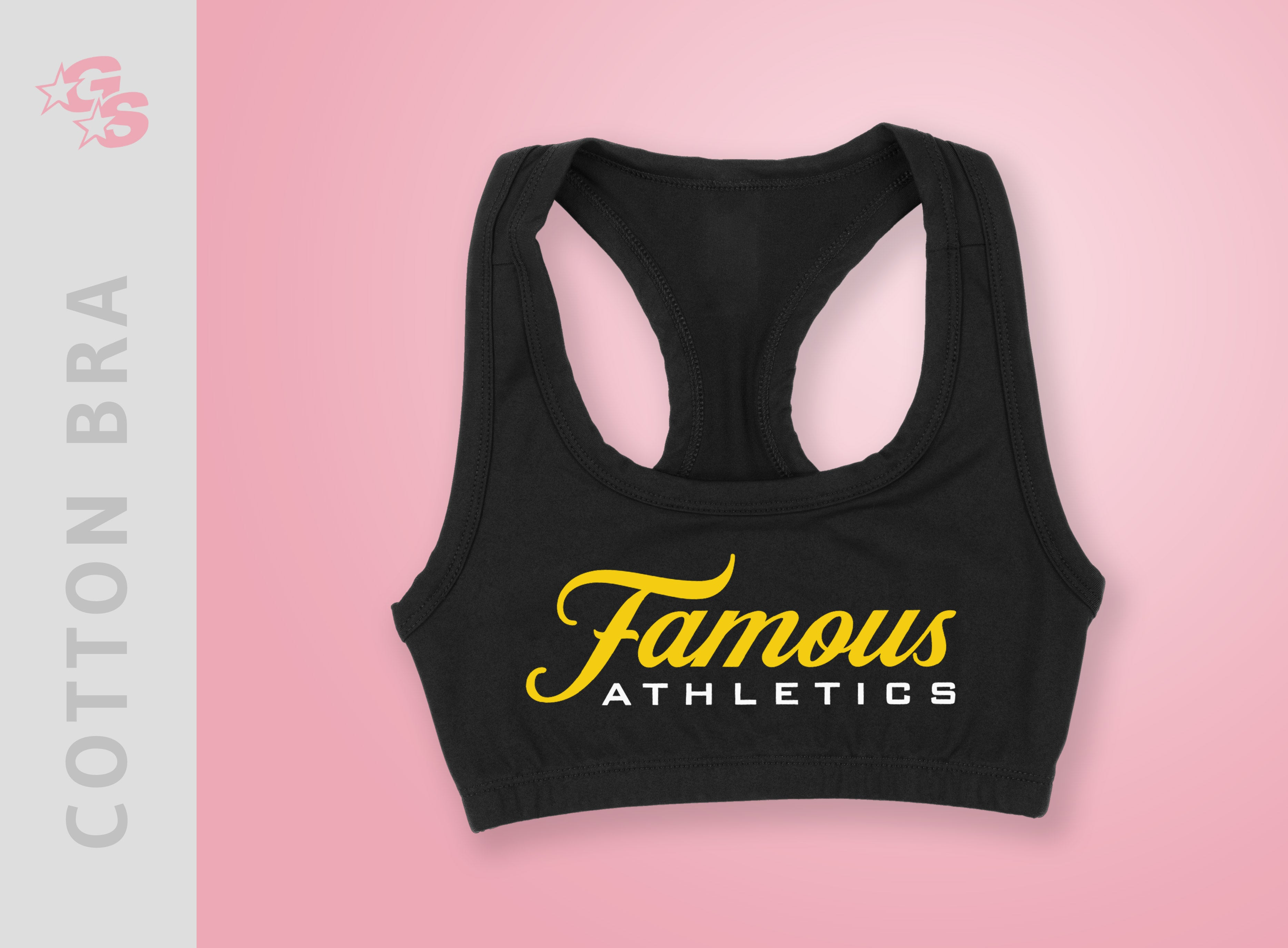 Cotton Bra (Black) with vinyl logo - Famous Athletics