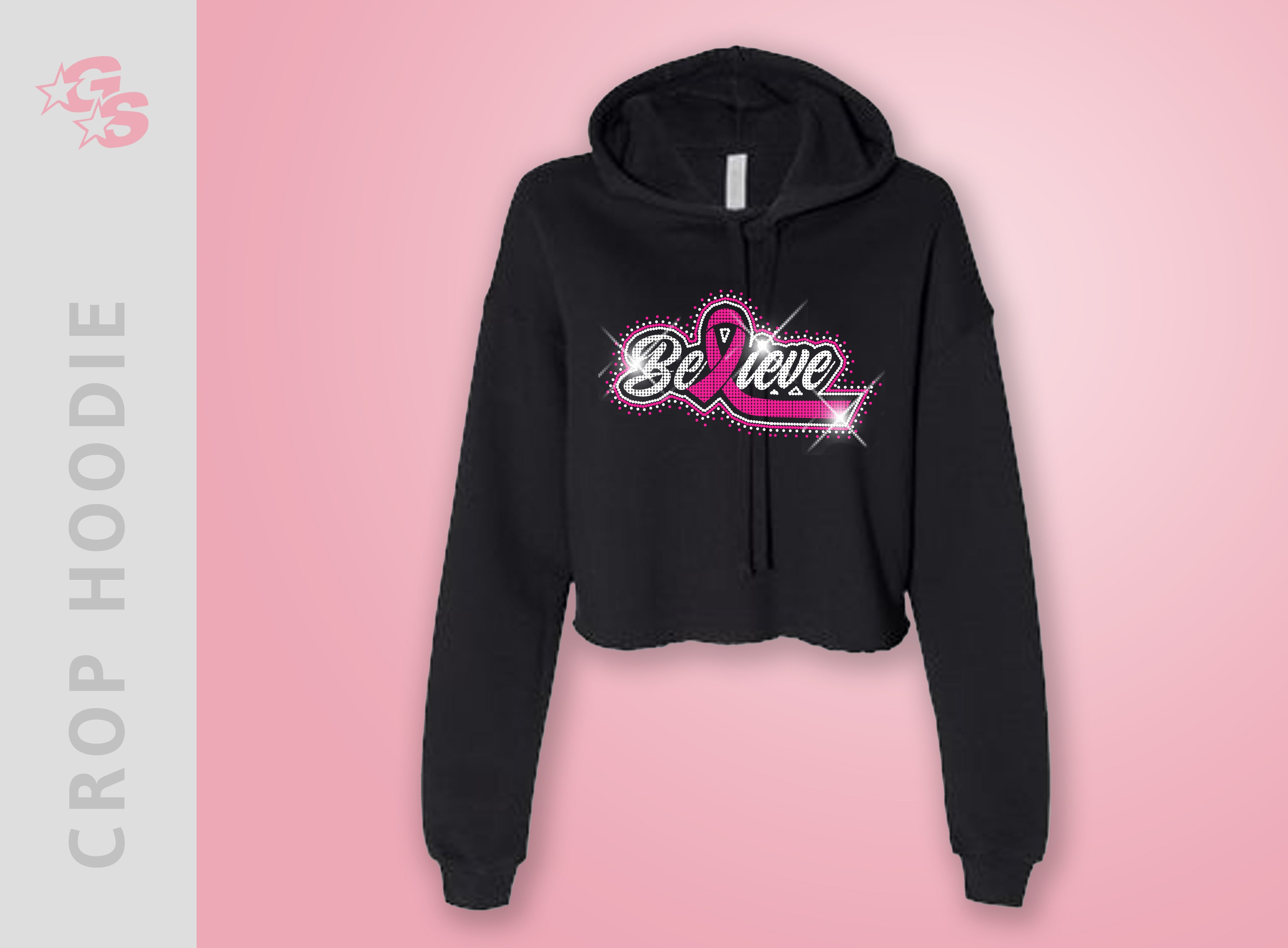 Breast Cancer Awareness Crop Hoodie with Bling Logo - Adult Sizes Only
