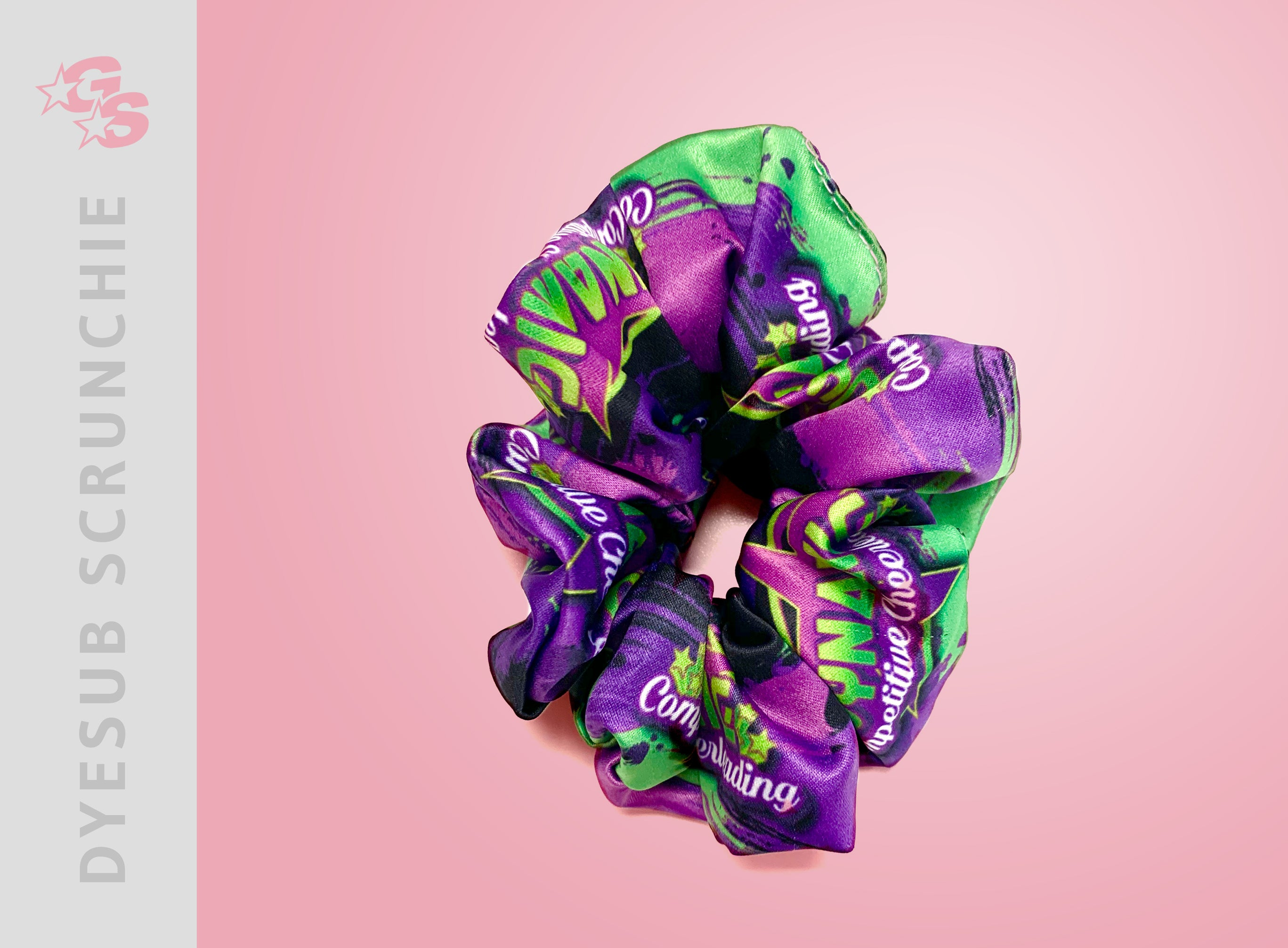 Dynamic Competitive Cheer Sublimated Scrunchie with dyesub logo