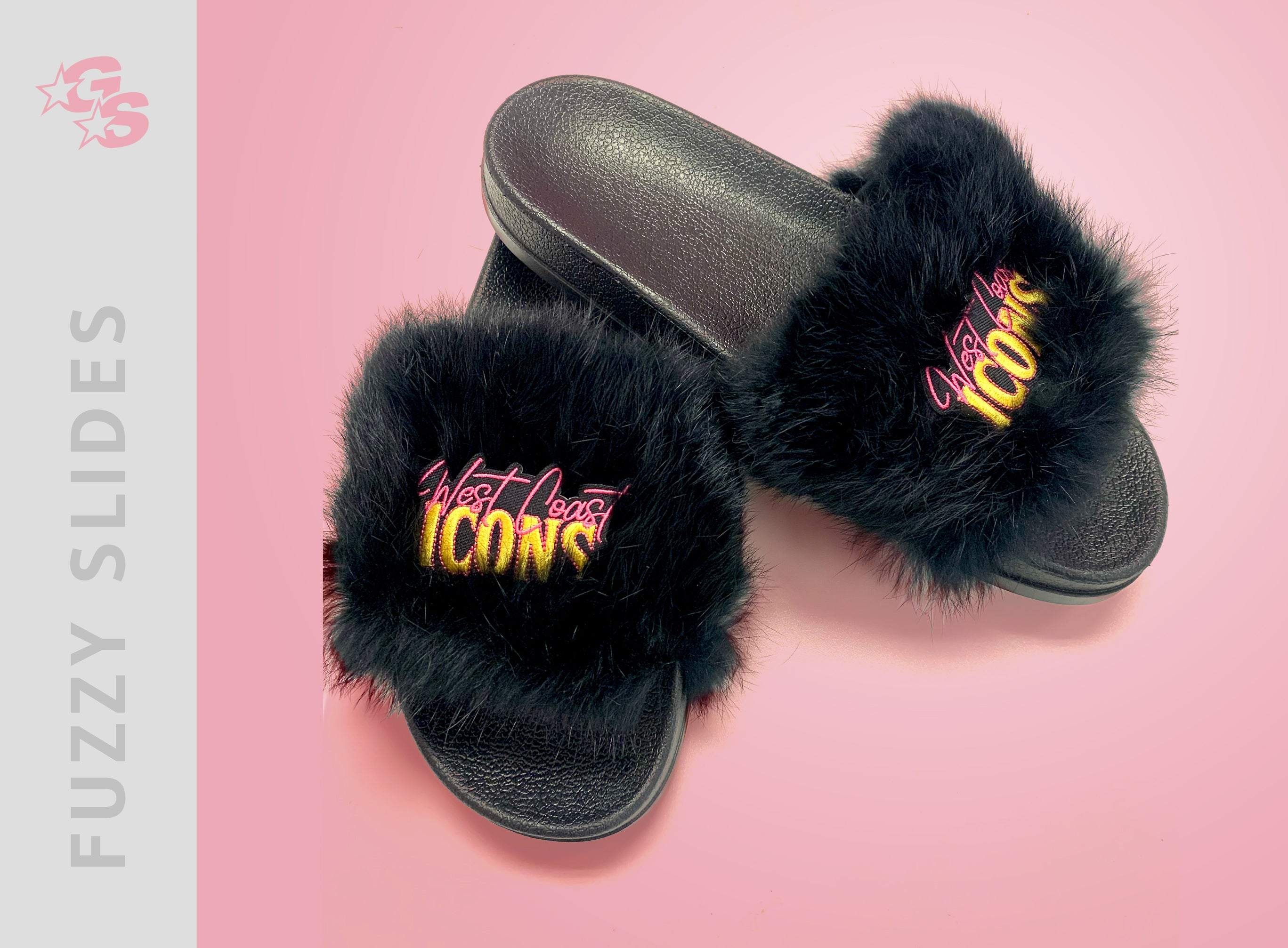 Fuzzy Slide Sandals with logo