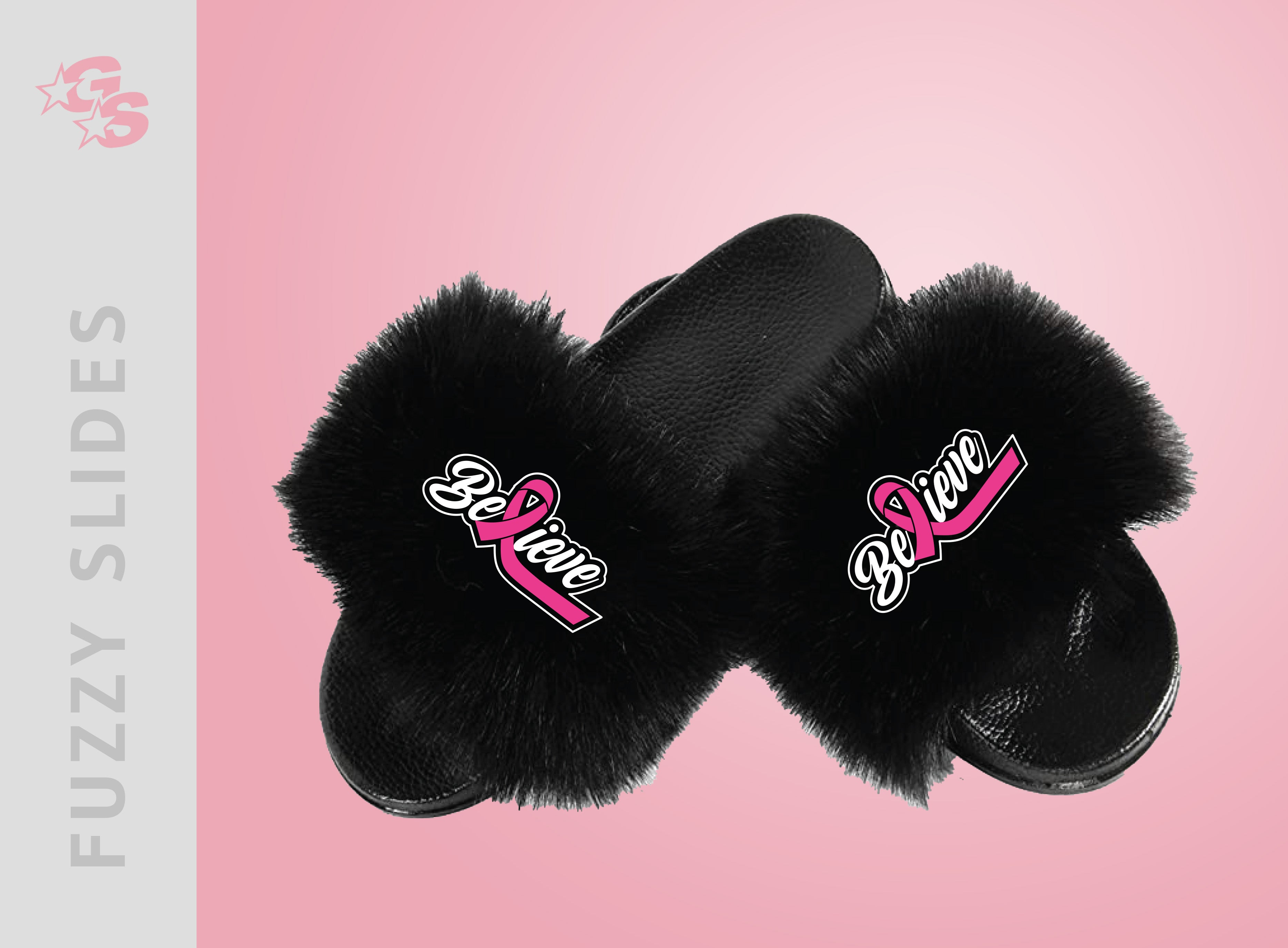 Believe - Breast Cancer Awareness Fuzzy Slide Sandals