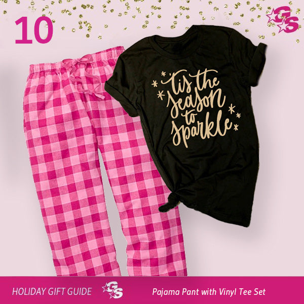 PJ Pant and Tee Set with Gold Vinyl Logo -- (10 Days of GlitzMas DAY 10)