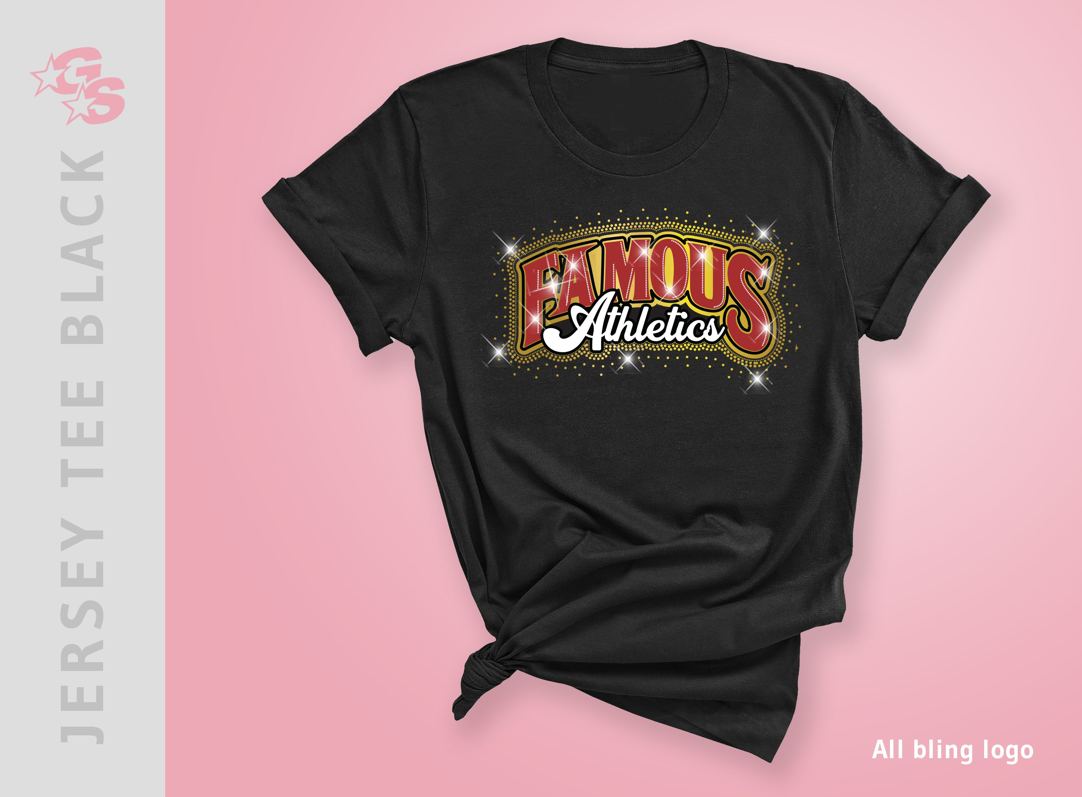 Jersey Tee (Black) with All bling logo - Famous Athletics