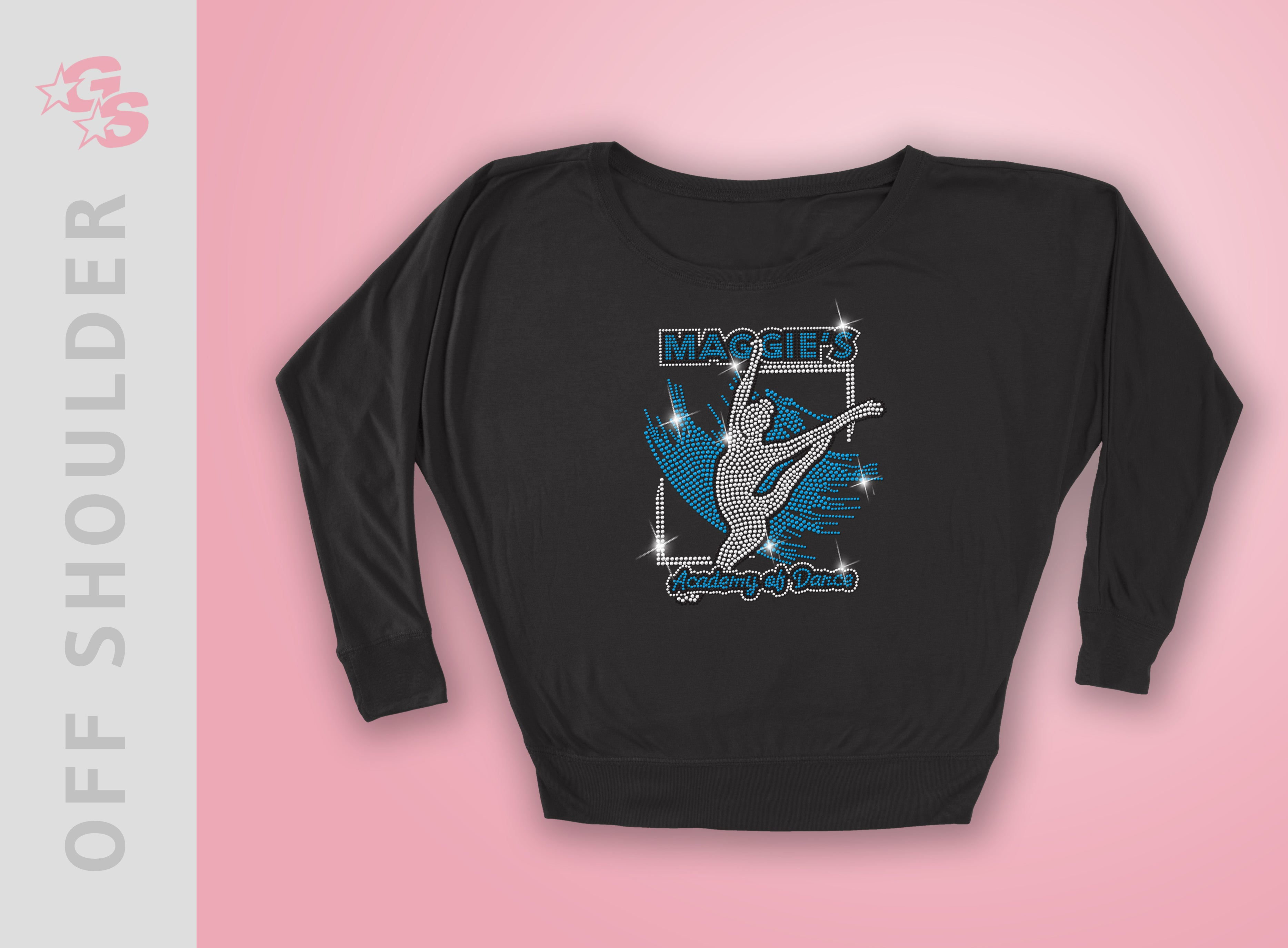 Off Shoulder Long Sleeve Tee  (Black) with bling logo - Maggies Dance Academy