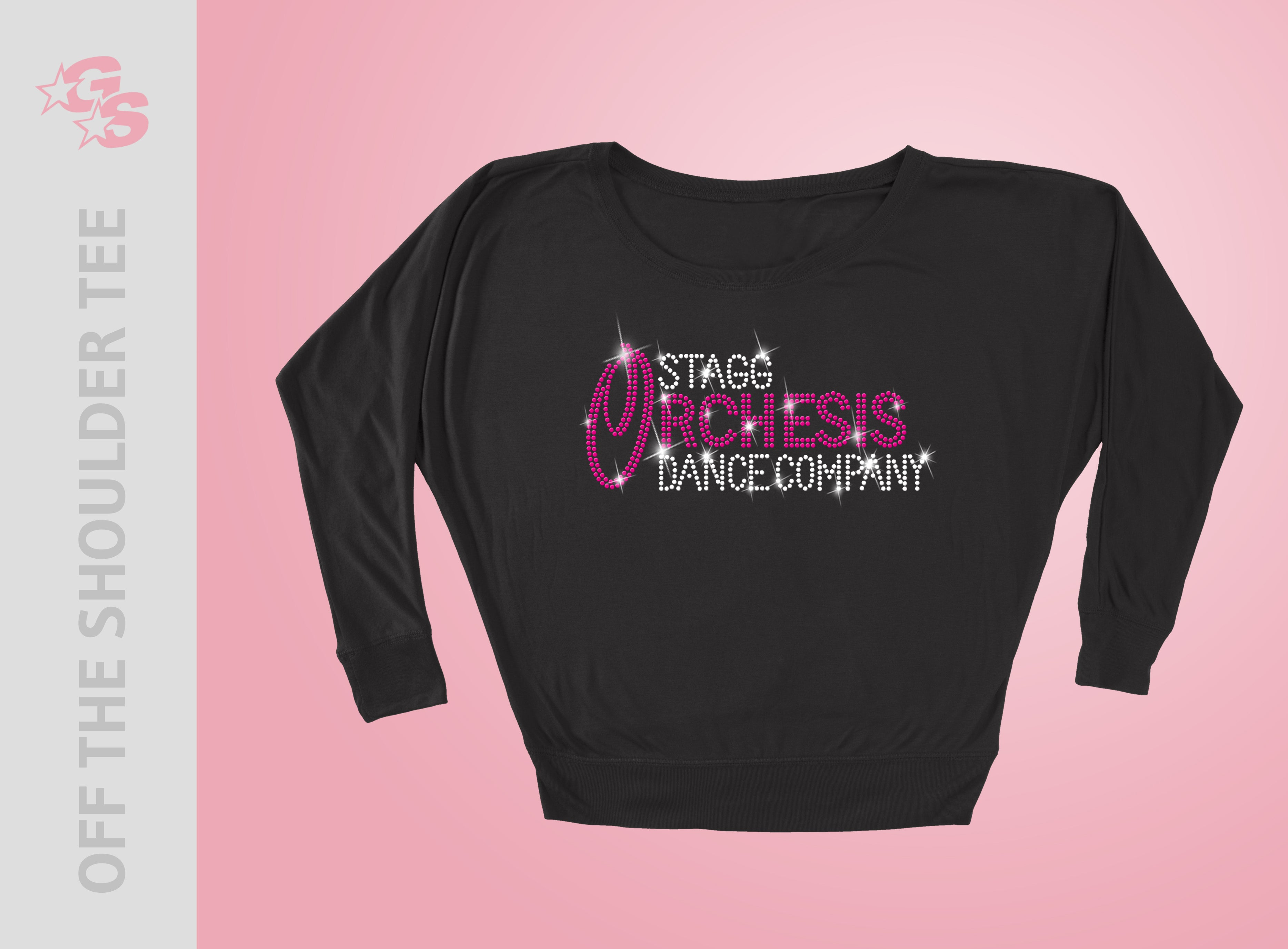 Stagg Orchesis Dance Company Off the Shoulder Tee - Women's - Bling Logo
