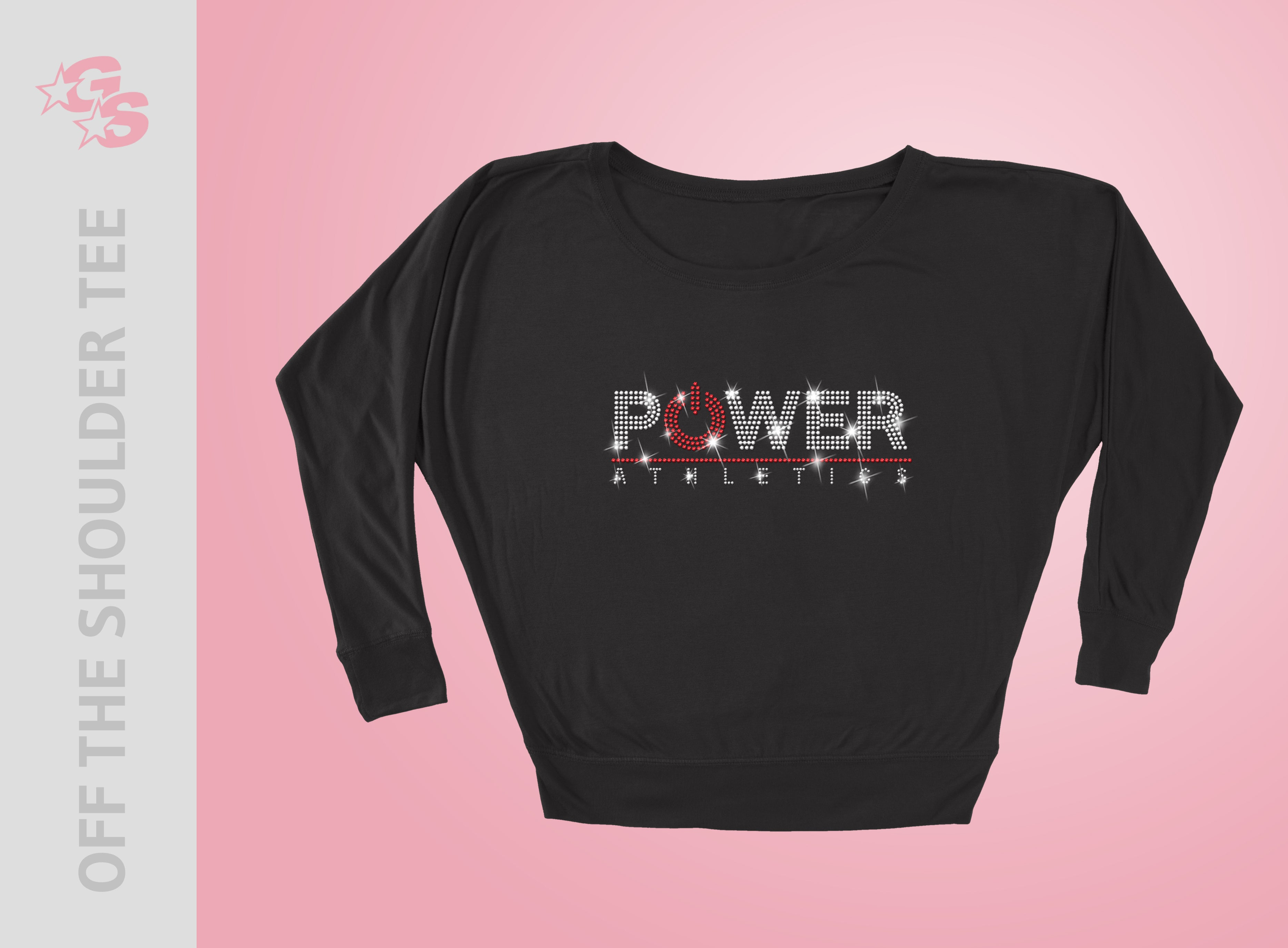 Power Athletics Off the Shoulder Tee - Women's - Bling Logo