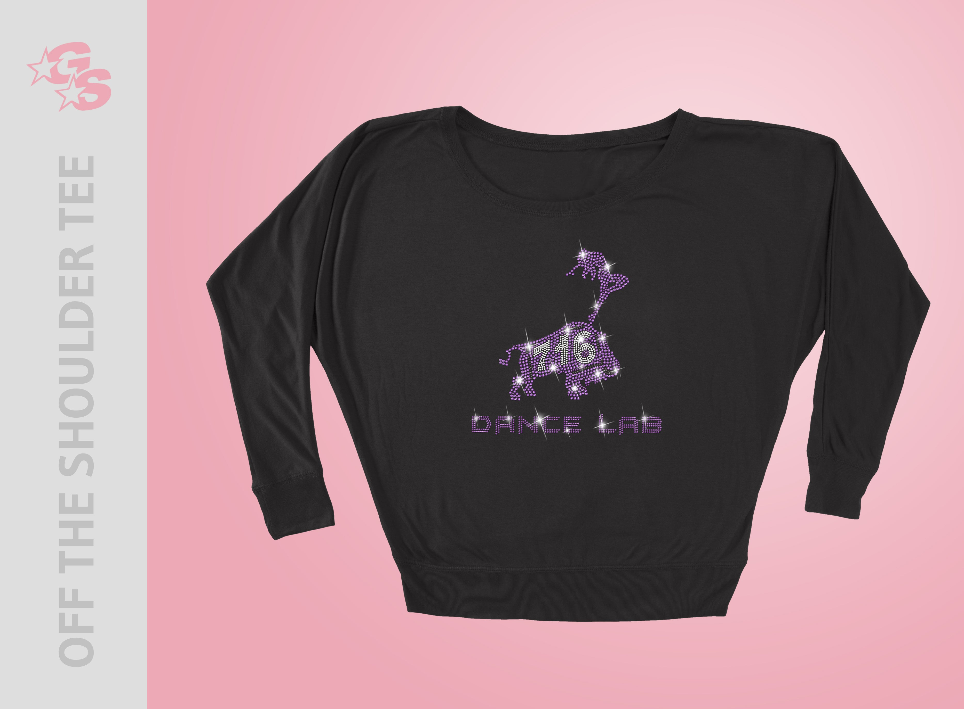 716 Dance Lab Off the Shoulder Tee - Women's - Bling Logo