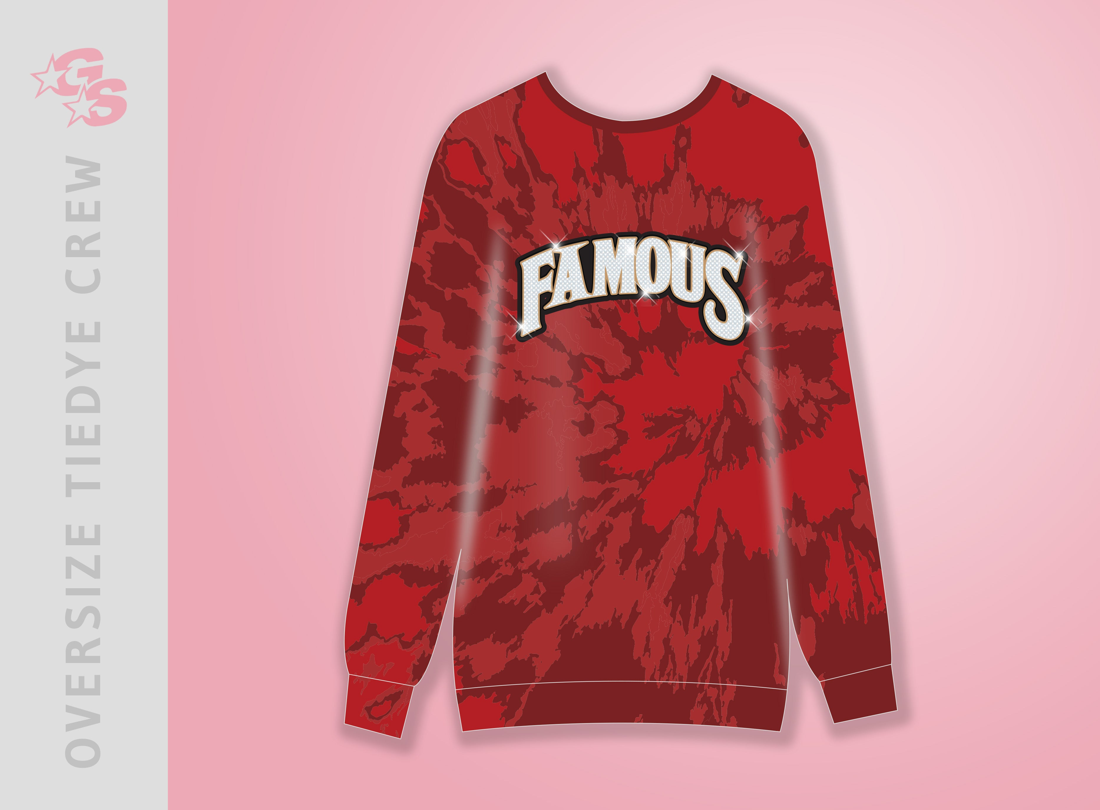 Oversized Sublimated Crewneck Tiedye sweatshirt with dyesub and bling combo logo - Famous Athletics