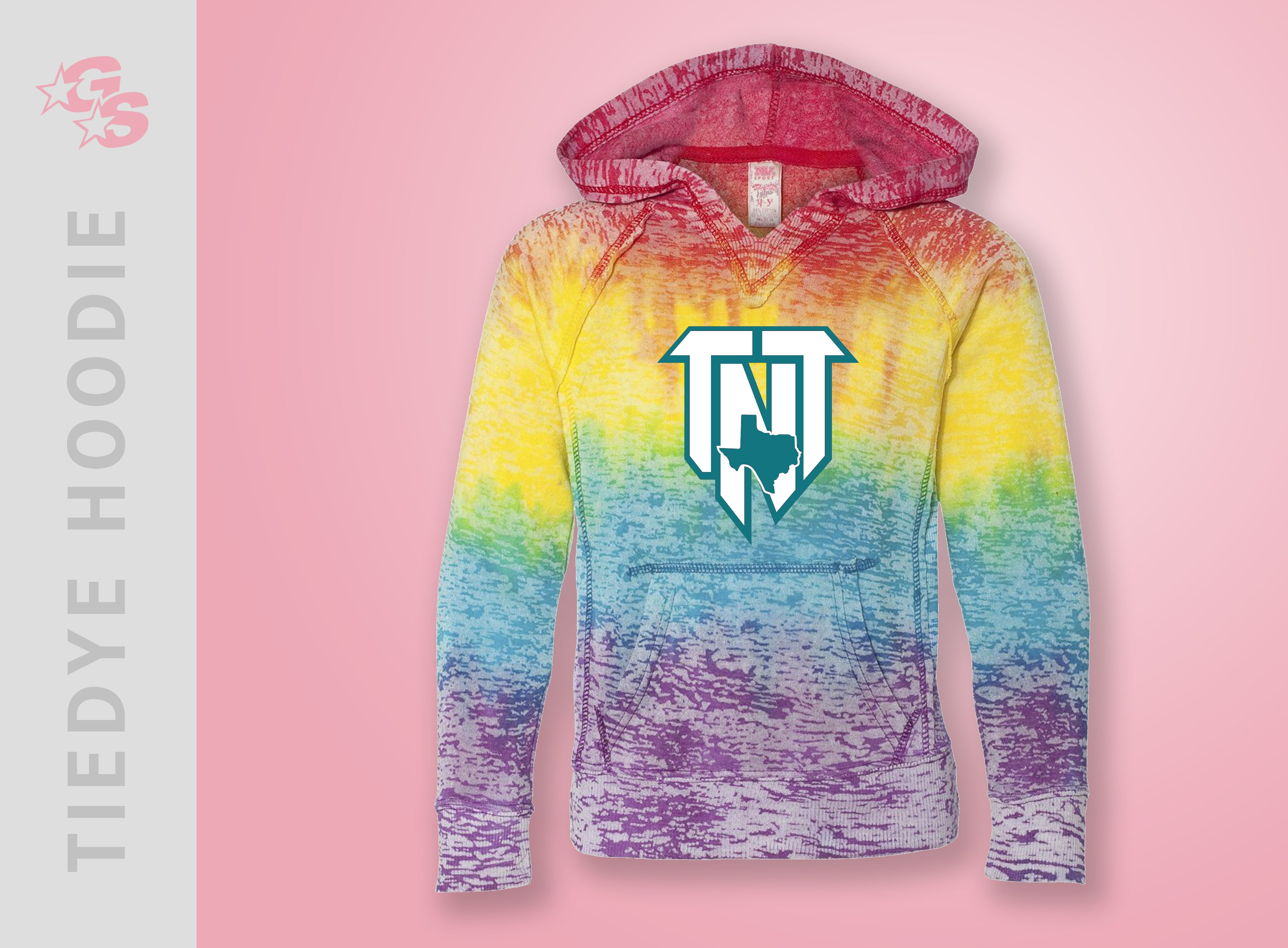 TieDye Hoodie with Vinyl logo - TNT Top Notch Tumble