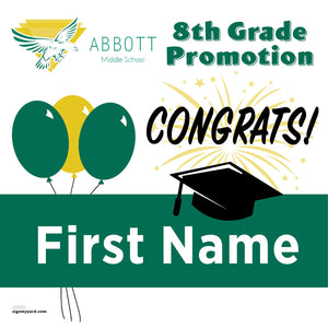 Abbott Middle School 8th Grade Promotion 24x24 #shineon2024 Yard Sign (Option A)