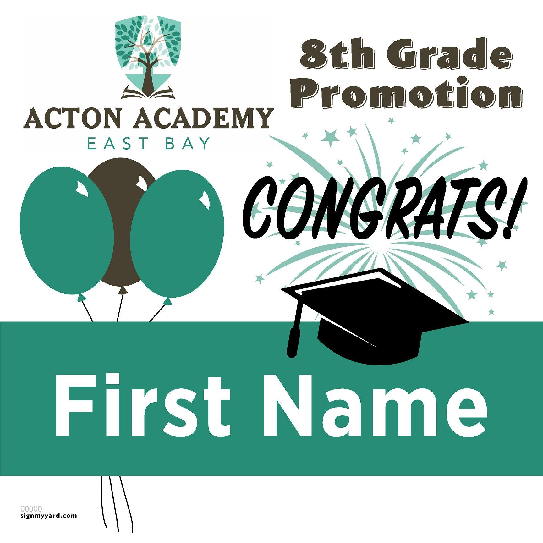 Acton Academy East Bay 8th Grade Promotion 24x24 #shineon2024 Yard Sign (Option A)