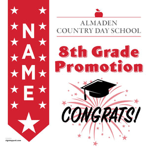 Almaden Country Day School 8th Grade Promotion 24x24 #shineon2024 Yard Sign (Option B)