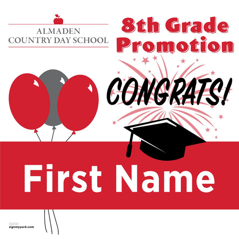 Almaden Country Day School 8th Grade Promotion 24x24 #shineon2024 Yard Sign (Option A)