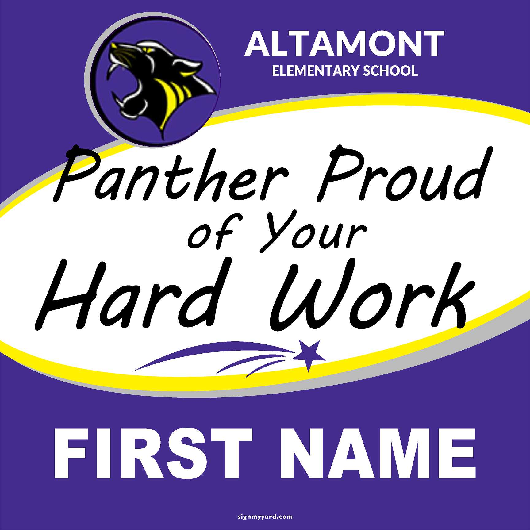 Altamont Elementary Panther Proud 24x24 Yard Sign (includes installation in your yard)