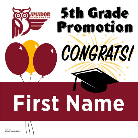 Amador Elementary School 5th Grade Promotion 24x24 #shineon2027 Yard Sign (Option A)