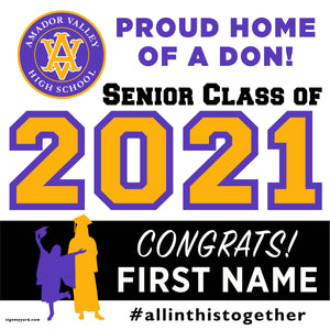 Amador Valley High School 24x24 Class of 2021 Yard Sign (Option A)