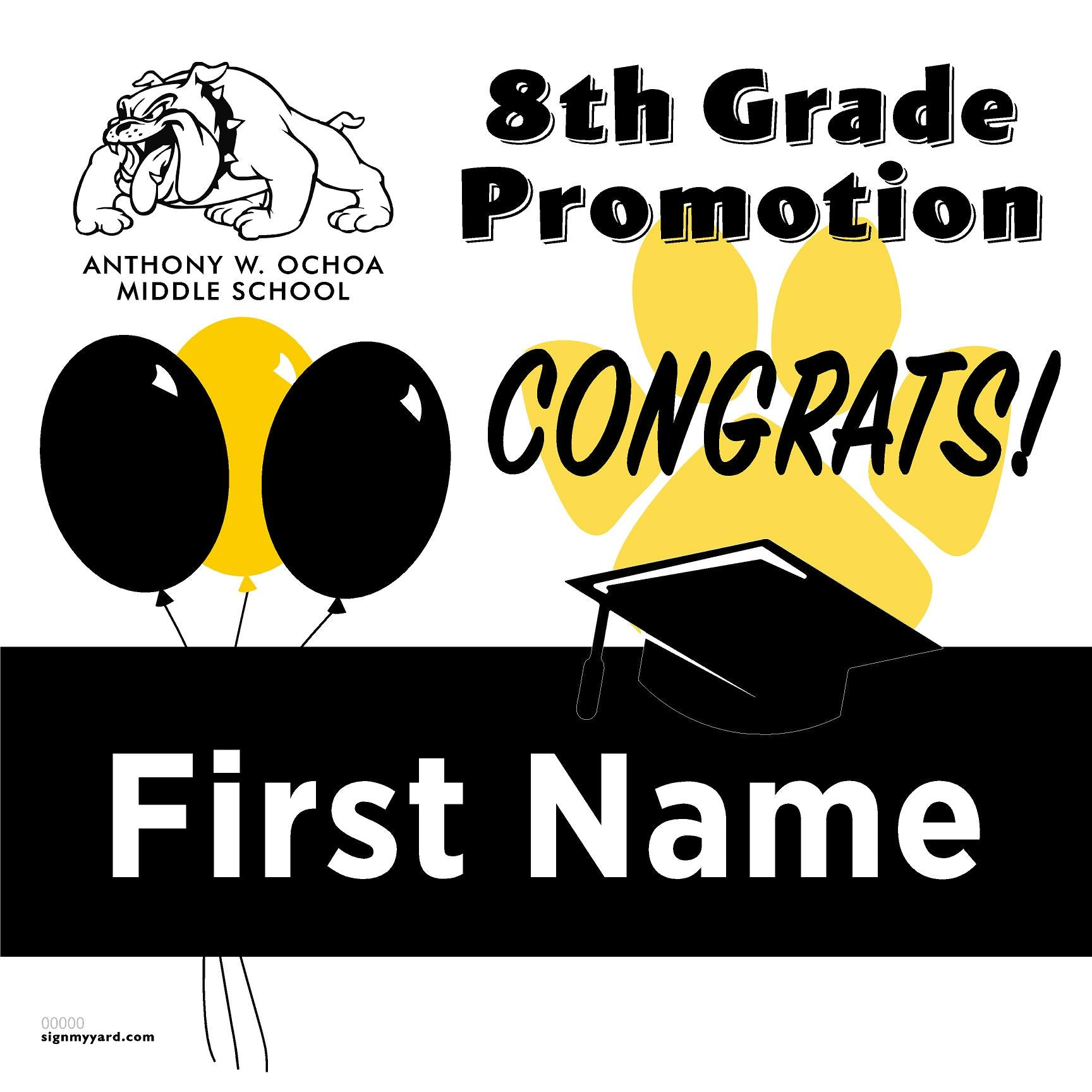 Anthony W. Ochoa Middle School 8th Grade Promotion 24x24 #shineon2024 Yard Sign (Option A)