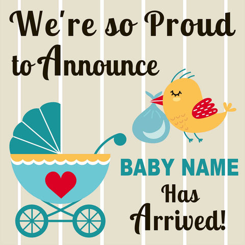 Welcome Baby 24x24 Yard Sign (Option B) (Includes Installation Stake) Installed for you!